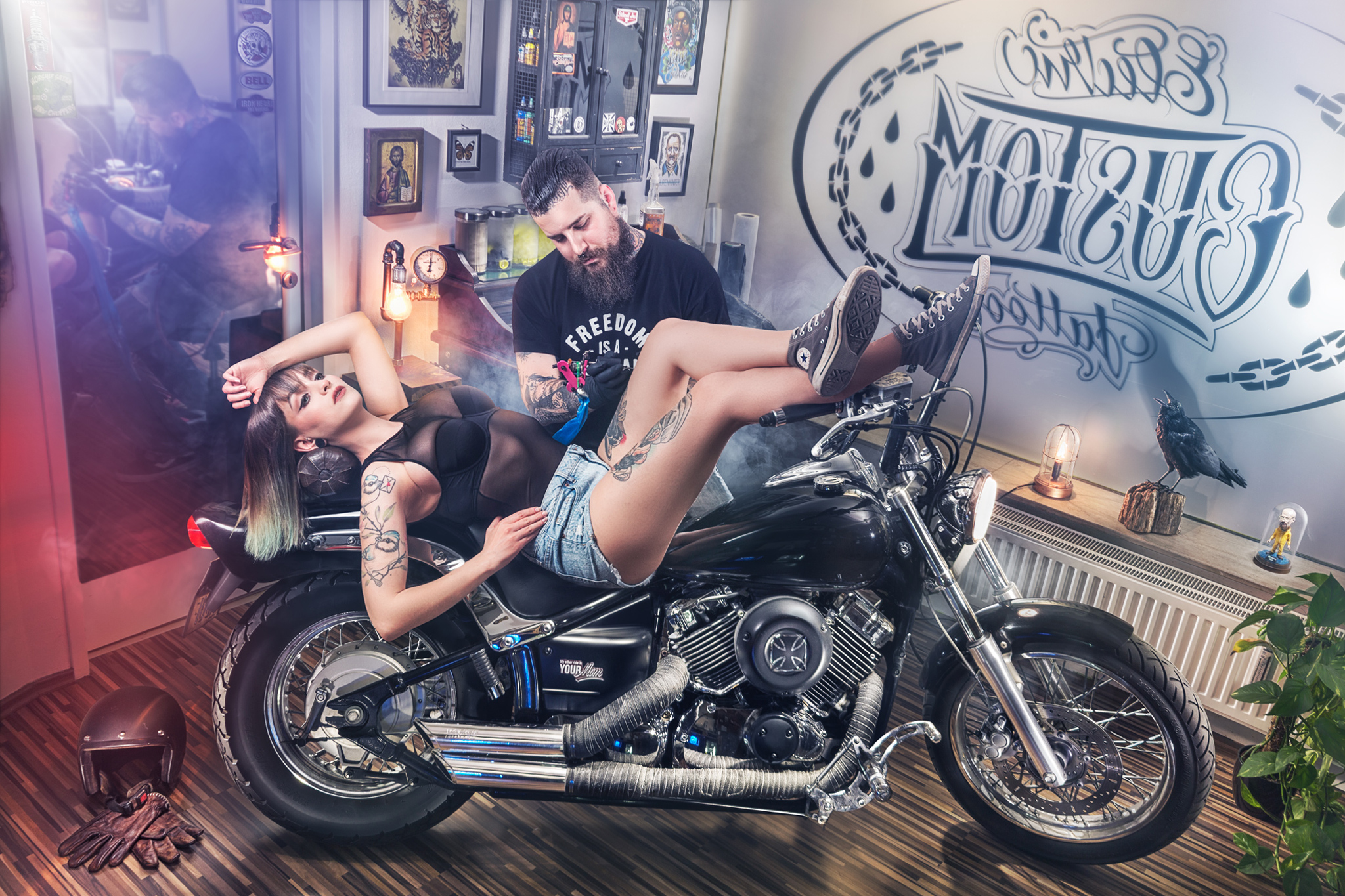 Chris Ina Electric Custom Tattoo Yamaha Dragstar